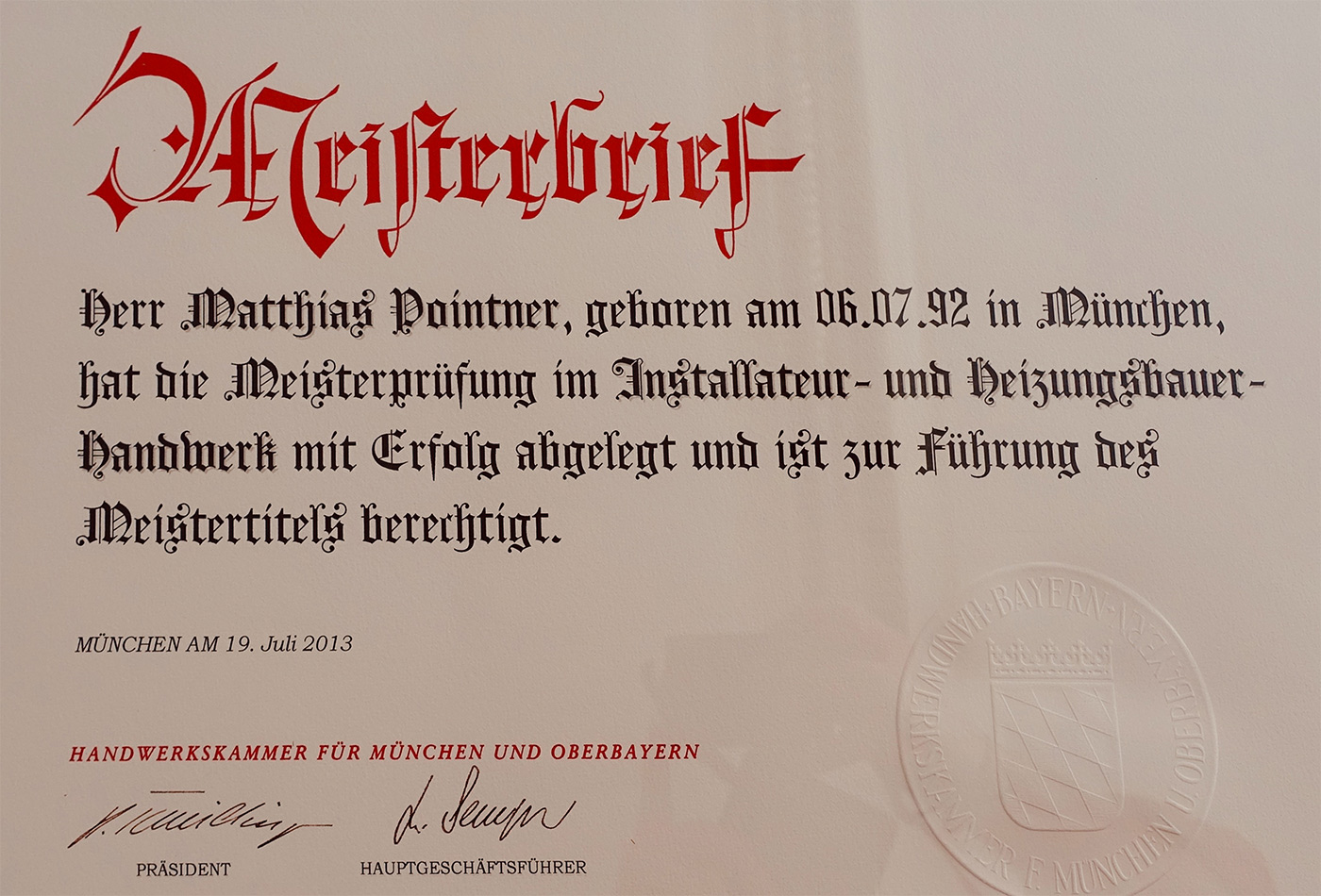 Meisterbrief Matthias Pointner
